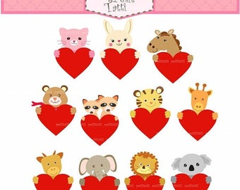 ON SALE Valentines Clip art, Cute Animal with Heart Clip art, Love Clip Art, animals, instant download clip art