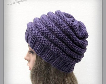 Chunky knit hat - purple hat - knitted hat - beehive slouch hat - wool hat - hat for women - slouchy hat - ribbed hat - winter hat