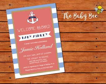 Nautical Themed BABY SHOWER INVITATION for Girl | Welcome Aboard Nautical Theme with Anchor | Do It Yourself Printable Invite | Digital File
