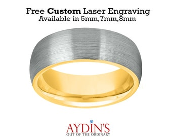 Tungsten Wedding Band Ring 5mm, 7mm, 8mm for Men and Women Comfort Fit 18K Yellow Gold Plated Domed Brushed Tungsten Carbide Wedding Ring