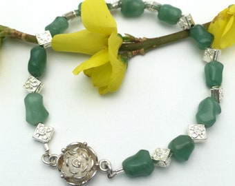 Sterling Silver and Jade Stone Beaded Bracelet with Sterling Rose Clasp