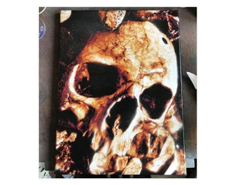 Spray paint canvas human skulls Catacombs Paris ossuaries painting street art graffiti oddities PAINTED TO ORDER