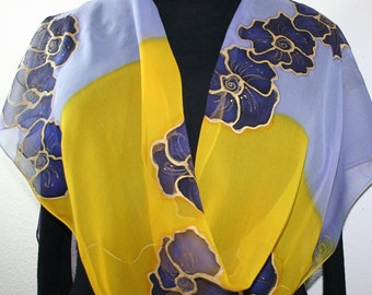 Silk Scarf Hand Painted Chiffon Silk Shawl  Yellow Lavender Hand Dyed Scarf DANCING VIOLETS Large 14x72. Mother Gift. Bridesmaid Gift