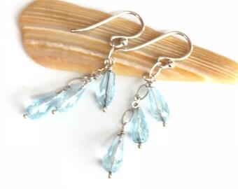 Sky Blue Topaz Sterling Silver Earrings / Light Blue Earrings / Topaz Earrings / Blue Topaz Earrings