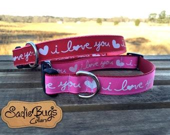 Valentines Day dog collar - I Love You collar