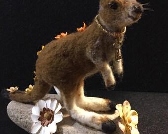 OOAK Needle Felted Kangaroo Sculpture with Flowers