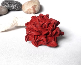 Leather Flower Leather brooch Red Brooch Rose Brooch Womens Brooch Pin Leather Jewelry For Mom gift for Wife anniversary Wedding brooch