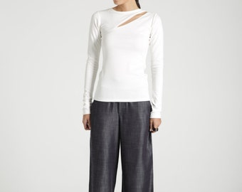 Party Top / Women's Blouse / Long Sleeve Top / Designer Blouse / Designer Top / Black Shirt / Marcellamoda - MB0641