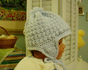 Baby Blue Earflap Baby Hat w/ Crochet Ties, Baby size 9-12 month