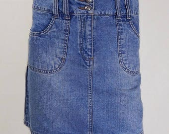 Original Vintage 1980s Denim Mini Skirt UK Size 10