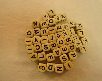 Lot of 46 Vintage Letter Cubed Dice