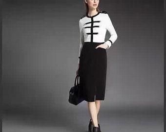 Black and White Long Sleeve Dress