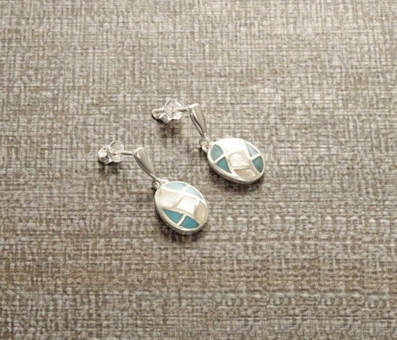 Turquoise - MOP, Sterling Silver Earrings , Oval Mosaic Earrings - Mother of Pearl - White Blue, Mop Turquoise, Mariage - Dangle Earrings
