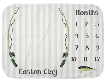 Baby Month Milestone Blanket- Fishing - Fishing Pole - Boy - Personalized Baby Blanket - Monthly tracking growth blanket
