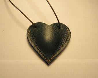 heart pendant small green handmade leather pouch