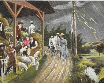 Antique Early 1900's Bicycles and People in Period Clothing Caught In A Rain Storm, Circa 1905 Novelty Color Postcard.