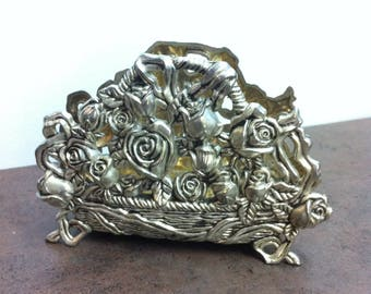 Vintage Napkin Holder - Heavy Silver Plated Zinc - Roses in a Basket - Serviette Holder - Aged Patina - Beautiful Addition to Any Table