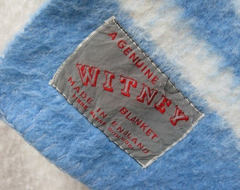 Witney Wool Blanket, Vintage Wool Blanket, Picnic Blanket, Travel Rug, 1960s Blanket, 1960s Bedspread, White Blanket, Striped Blanket