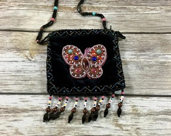 Butterfly Jeweled Vintage Beaded Purse /  Beaded Pouch / Vintage Hand Bag Purse Clutch