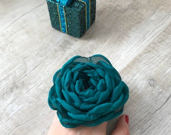 Pigtail Chiffon flower on elastic holder, Ponytail holder, hair tie set, elastic hair ties, hair jewelry, flower hair accessory, peony