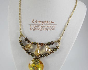 Pools of Sunshine; Adjustable Necklace with Amber Faceted Glass, Bronze Freshwater Pearls, Gold Beads, Chain & Findings