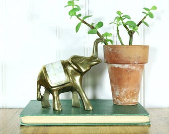 Brass Elephant, Vintage Mother of Pearl Elephant Figurine, Brass Animals, Accents, Home Decor, Gifts for Her Friend, Boho Decor