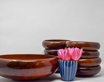 Set of Vintage Teak Salad Bowls made in Haiti