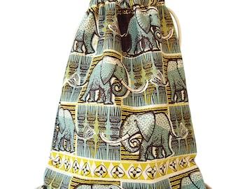 Elephant Ethnic Drawstring Backpack Retro Blue