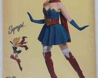Simplicity 8185 D.C Bombshells Super Girl Costume for Misses. 6 - 14 or 14 - 22