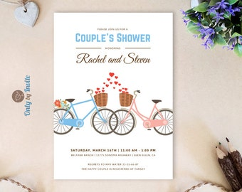 Tandem bicycle bridal shower invitations printed vintage couples shower invitation with two bicycles for him and her wedding bridal shower invitation printed couples shower invites filmwisefo
