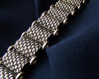 Thick Sterling Unisex Bracelet Heavy Big Bold Rich Assertive Solid Sterling Silver Woven Mesh Panels Unique True 1980s FavoriteBlings Retro