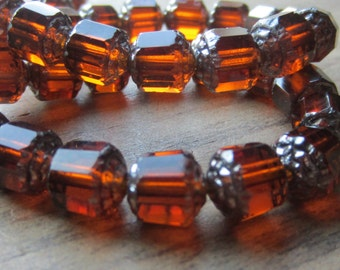 Czech Glass Cathedral Bead 10mm Antique Cut Dark Amber Silver End Qty 10
