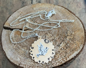 """Bird necklace, Silver and gold, metal stamped """"Dare to Fly"""" bird necklace"""