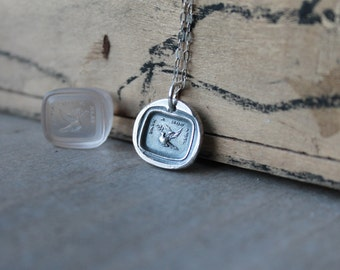 Peace to my friend-Dove with olive branch-wax seal fine silver charm