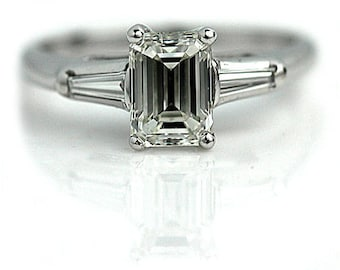 "Emerald Cut Diamond Engagement Ring Vintage GIA 1.26 Emerald Cut Diamond in 14k White Gold "" The Maria"""