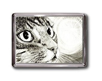 Tabby Cat Magnet Fairy Light Portrait Drawing Fantasy Cat Art Framed Magnet Cat Lovers Gift