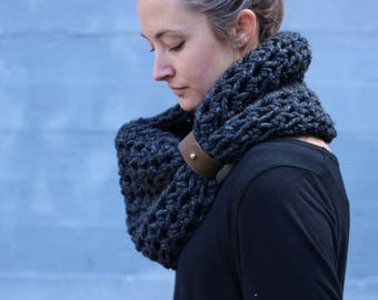 Charcoal Heather - CHUNKY WOOL Large Cowl Scarf