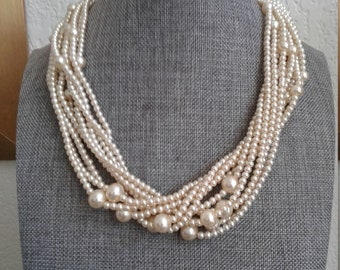 Vintage 10 Strand Faux Pearl Necklace - Signed Japan