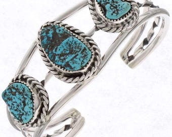 Ladies Blue Turquoise Bracelet Native American Cuff