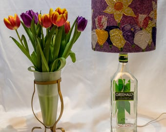 Springtime Lampshade on an up cycled Greenall's gin bottle