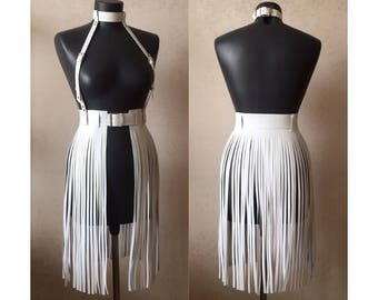 Leather harness skirt belt white black dress rock accessories transformer women's dresses with leather