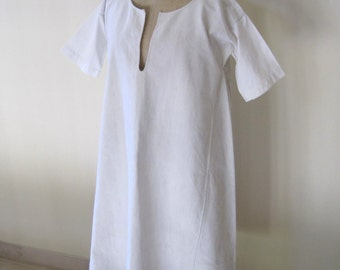 Antique French Pure Linen Chemise Hand Sewn 19th Century French Smock