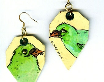 Lemon Yellow and Lime Green Moustache Bird - hand-painted earrings