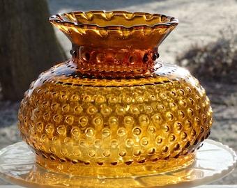 Amber Glass Hobnail Lamp Shade, Vintage Lamp Shade