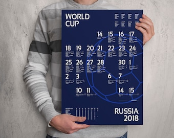 World Cup 2018 wall chart poster. Customizable World Cup wall chart. France . FAST SHIPPING