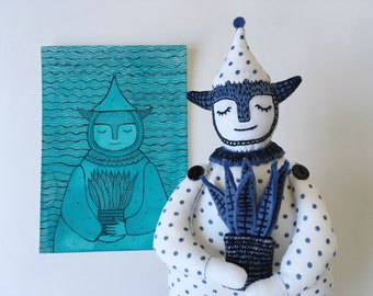 Art doll water dwarf Vasily & hand made postcard  – 2in1 – Not Imaginary Friends and Chuzhestranka Otkritki limited edition collaboration