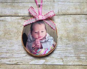 Newborn Photo Ornament | Custom Photo Ornament | Personalized Wood Ornament | Christmas Ornament | Hand lettered | Rustic Decor