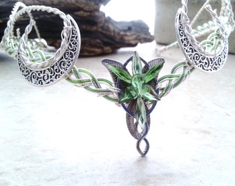 Green Crescent Moon Elvenstar Circlet Celtic Goddess Headdress Tiara