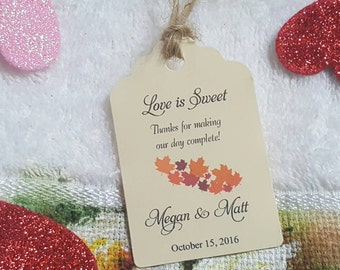 Personalized Favor Tags 2 1/2'', Wedding tags, Thank You tags, Favor tags, Gift tags, Bridal Shower Favor Tags, fall wedding favor tag