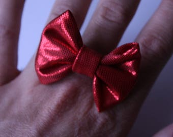 ring adjustable Red Metallic bow